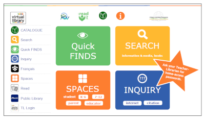 QuickFinds, Search, Spaces, Inquiry.