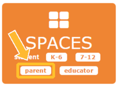 "Orange Spaces home page square with an arrow highlighting the white ""Parent"" button."