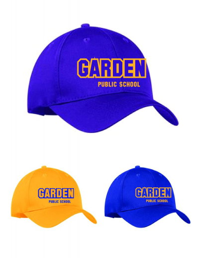 blue and yellow baseball caps with garden public school name